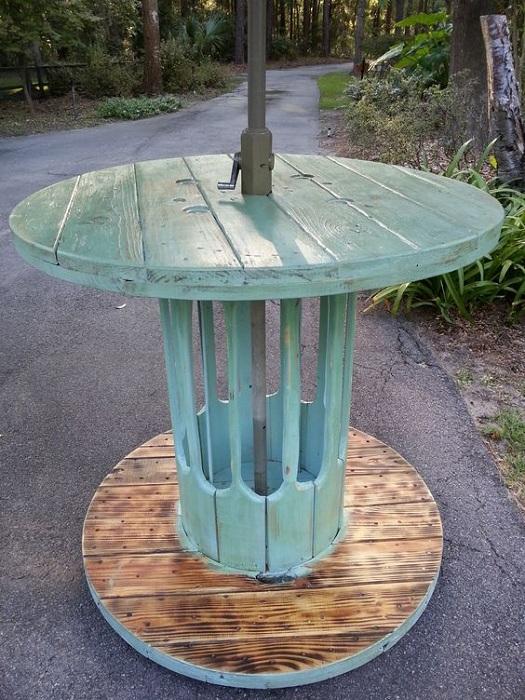 Идеальный вариант оформления стола в бирюзовых тонах из катушки.