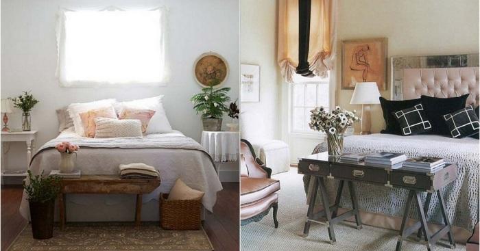 Идеи для оформления пространства у изножья кровати.