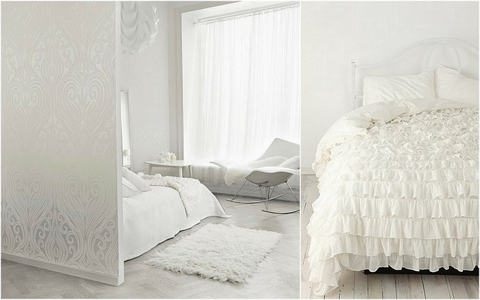 Сказочное место для отдыха - спальня в белоснежных тонах.