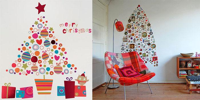 Крутой пример украшения стены мелкими фрагментами, что позволит создать новогоднюю атмосферу.