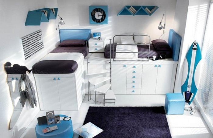 Оригинальные контрасты в интерьере комнаты для сна, что точно понравится.