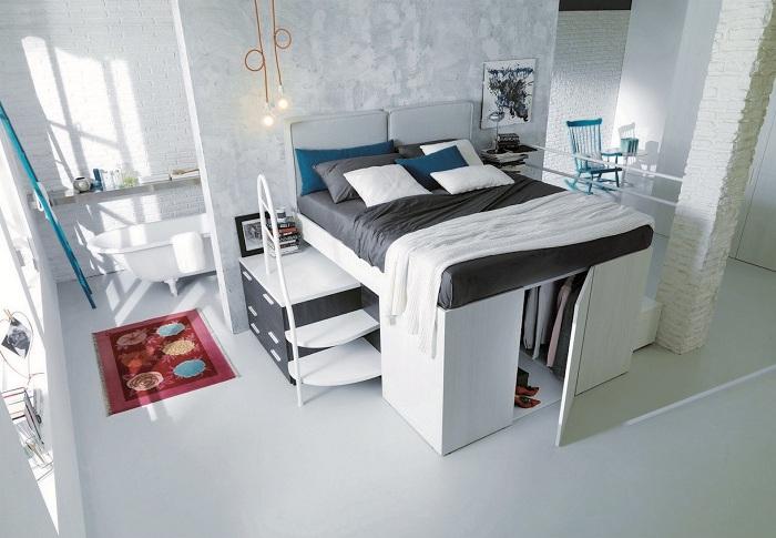 Симпатичный и удачный вариант оформления кровати-шкафа, что будет особенным элементом декора.