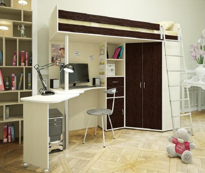 Красивое решение декорирования комнаты для сна совмещенной рабочей зоной.