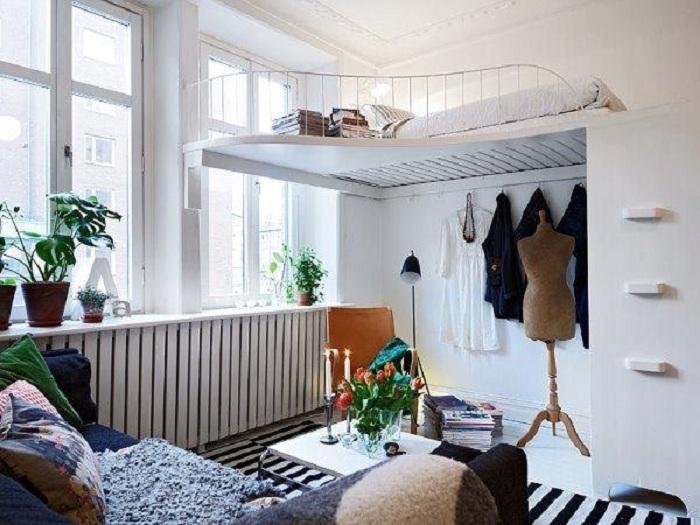 Отличное решение для оформления комнаты для отдыха в светлых тонах.