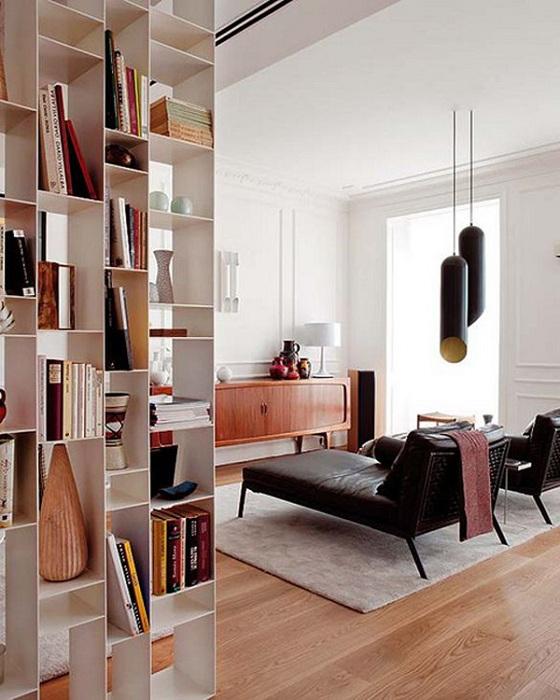 Отличный пример зонирования пространства комнаты.