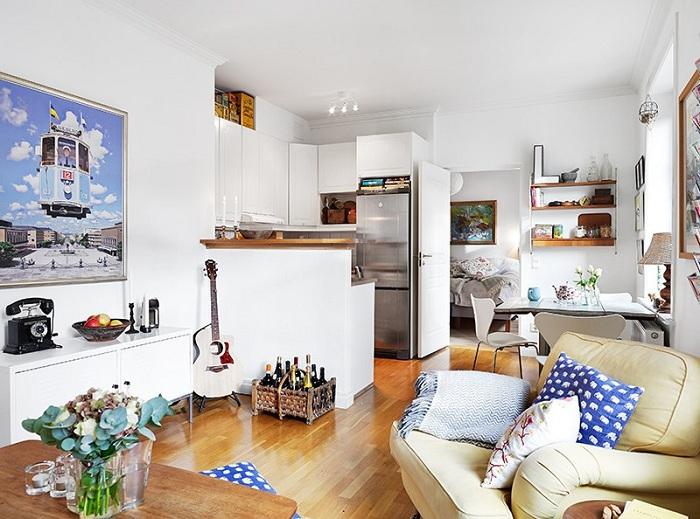 Хорошее решение совместить все необходимые комнаты для экономии полезной площади.