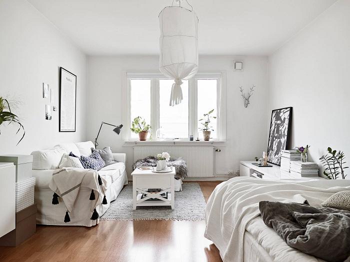 Интересное решение оформить комнату в белоснежном цвете.