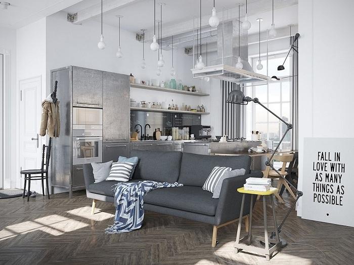 Крутой вариант обустройства маленькой квартиры в шикарном стиле.