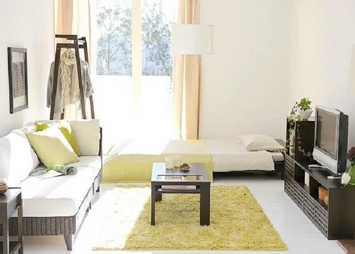Отличное решение красиво и практично обустроить комнату даже с такой небольшой площадью.