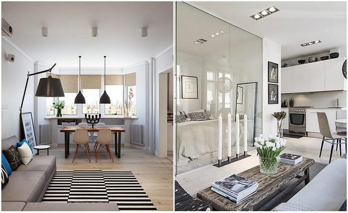 Примеры оформления компактных однокомнатных квартир.