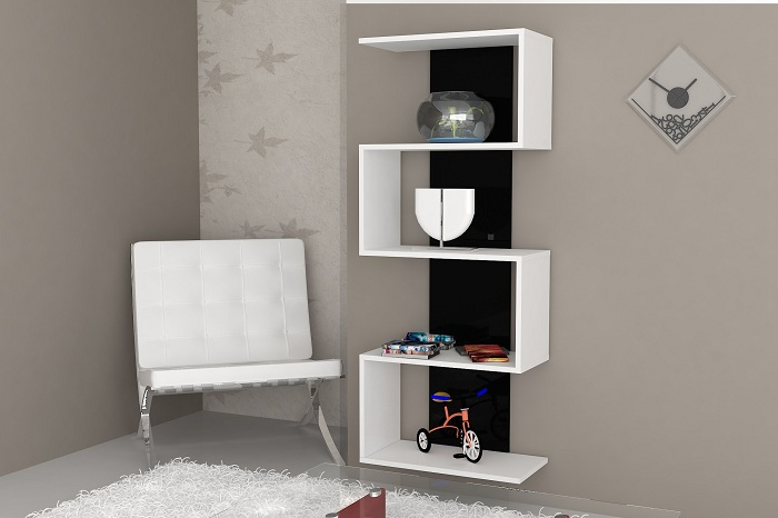 Интересный вариант создания необычного оформления цельной полки, что станет просто хорошим вариантом для комнаты.