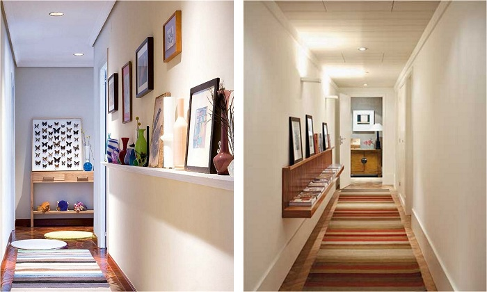 Один из самых лучших вариантов - это украшение длинного коридора при помощи необычных полок, что понравятся.