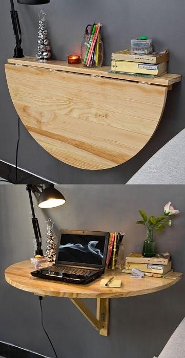 Прекрасный вариант оформления полки в виде откидного столика - два в одном.