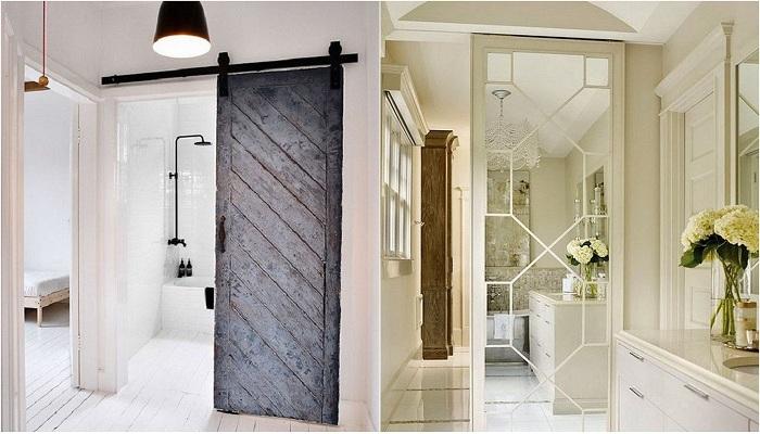 Экономия пространства при помощи установки межкомнатных раздвижных дверей.