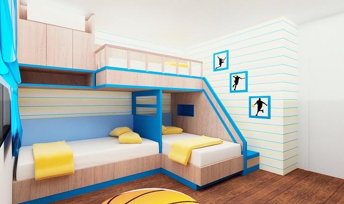 Кровати для детей разных возрастов в одной комнате.