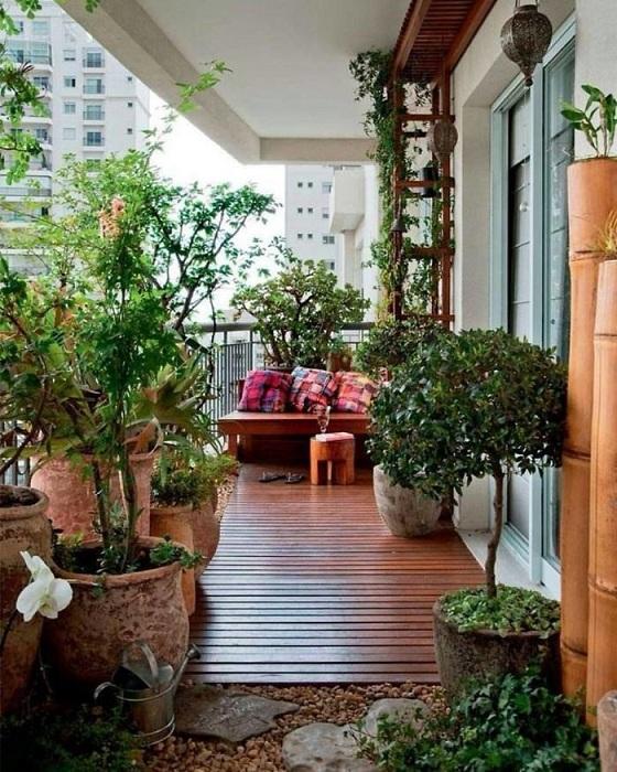 Интересный балкон с зелеными комнатами цветами, которые украсят интерьер и подарят массу положительных эмоций.