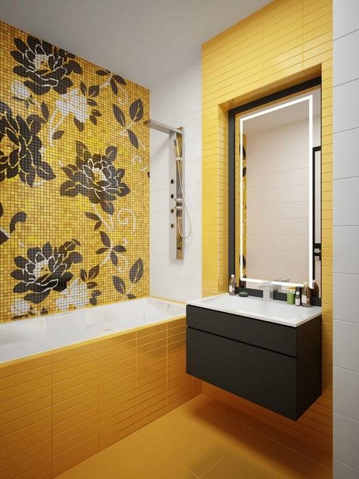 Отличный вариант оформить прекрасный интерьер ванной в ярком солнечном настроении.