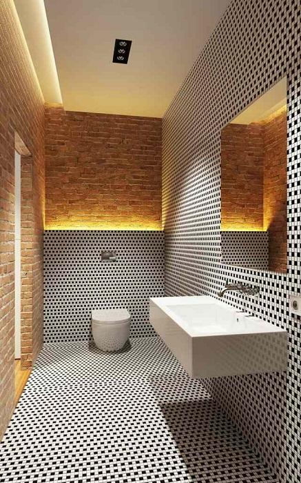 Отменный вариант оформления ванной комнаты с черно-белой кладкой, что вдохновит.