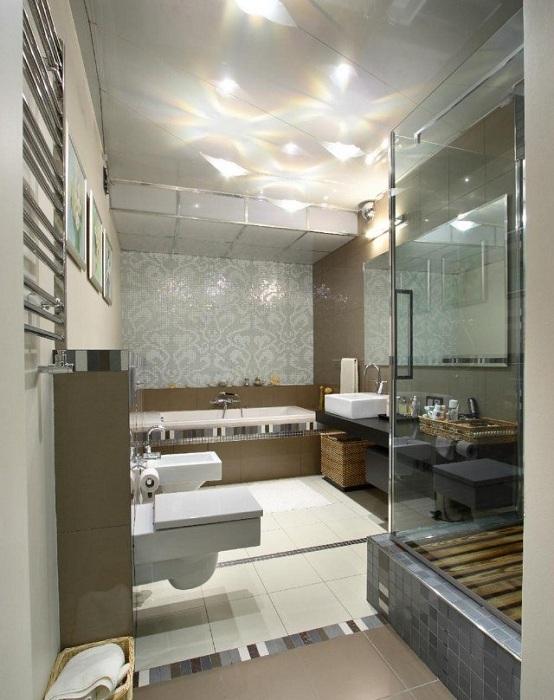 Хороший приклад оформлення ванної кімнати в сучасних тенденціях.