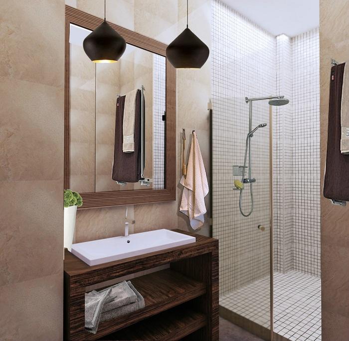 Поєднання дрібної білої мозаїки з дерев'яними елементами декору - відмінний варіант.