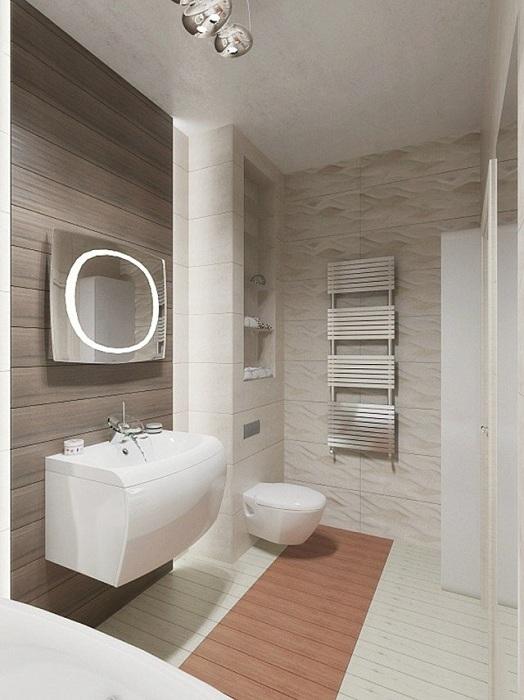 Белые тона в ванной комнате в сочетании с металлическими элементами, то что порадует глаз.