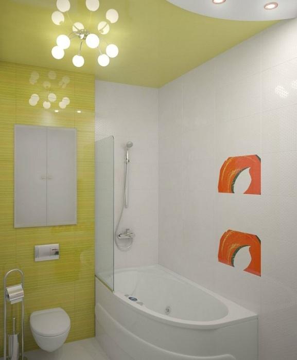 Гарний варіант створити інтер'єр ванної кімнати в салатовий колір, що однозначно сподобається.