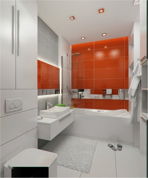 Крутой пример оформления ванной комнаты в белом цвете с добавлением насыщенного красного.