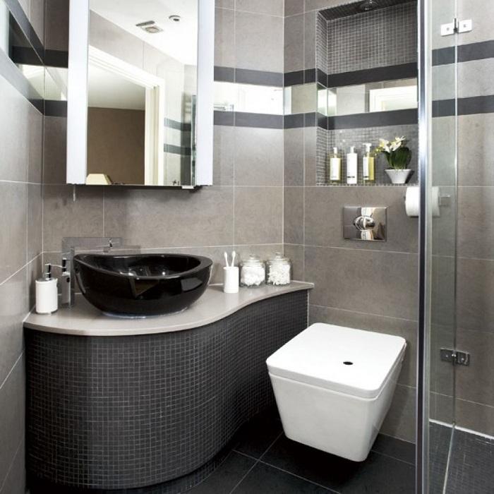 Крутий декор ванної кімнати в темних тонах, що стане нестандартним рішенням.