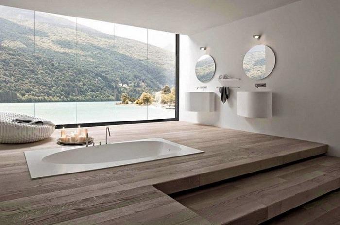 Интересный вариант декорировать ванную комнату весьма интересным образом.
