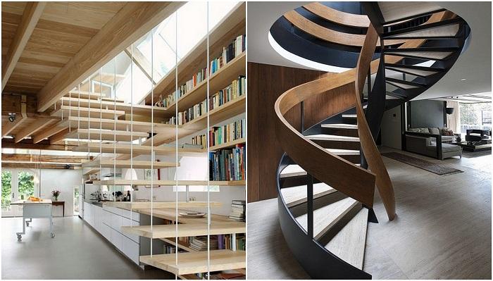Прекрасные варианты лестниц, которые украсят любой интерьер.