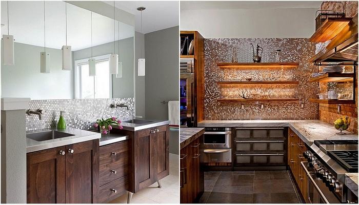 Оформление стен круглой плиткой станет просто оптимальным вариантом для декора.