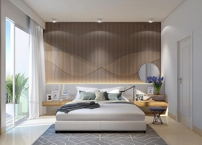 Оригинальное оформление стены в спальне.
