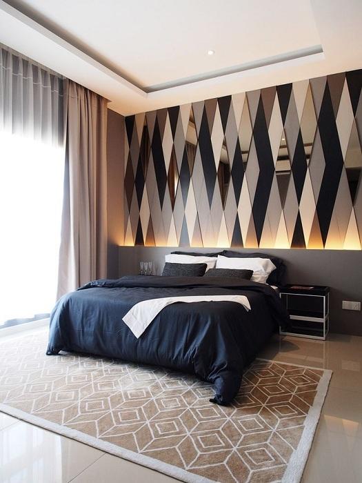 Лучшее решение создать оригинальный интерьер в спальной с помощью создания акцентной стены.