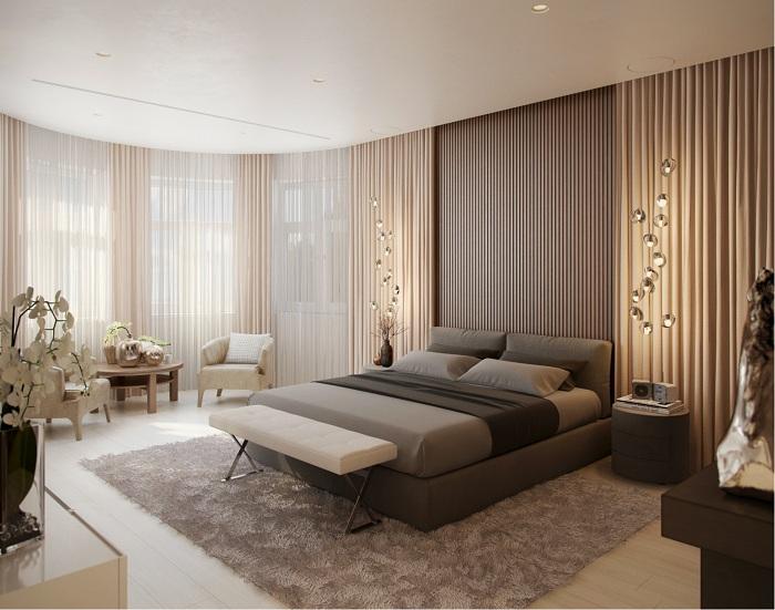 Краще рішення облаштувати інтер'єр - створити обстановку в спальній в кавово-вершкових тонах.