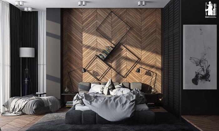Цікаве рішення облаштувати інтер'єр кімнати завдяки дерев'яній стіні.