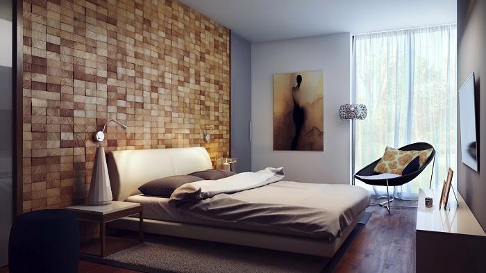 Оформлення стіни в золотому кольорі, що однозначно сподобається і вразить.