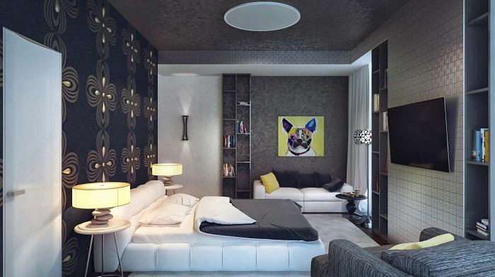 Стена у изголовья кровати выглядит просто потрясающе благодаря правильному выбору обоев.