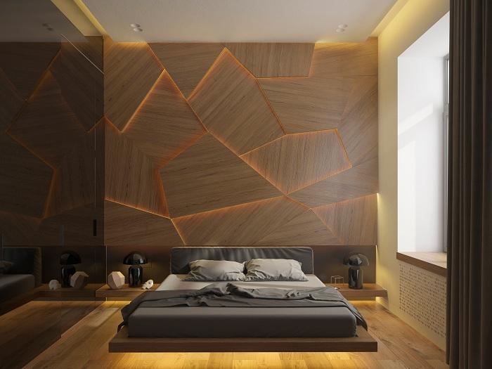 Деревянная отделка спальни.