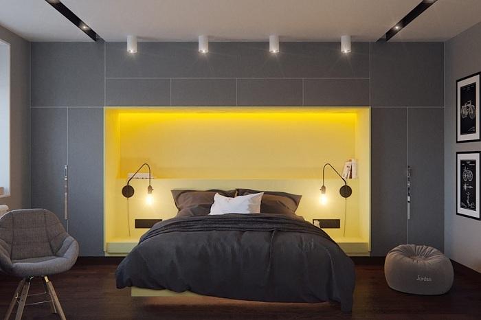 Оригинальный интерьер спальной с ярко-желтом цвете, что понравится однозначно.