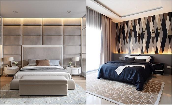 Примеры оформления стен в спальной.