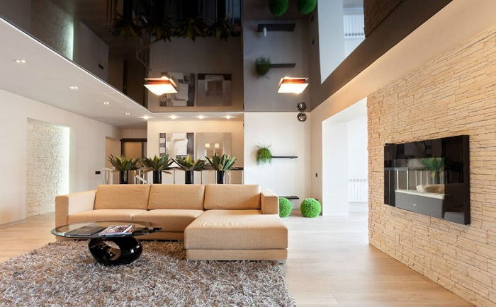 Відмінний приклад декорувати інтер'єр вітальні в дуже теплих тонах, що сподобається.