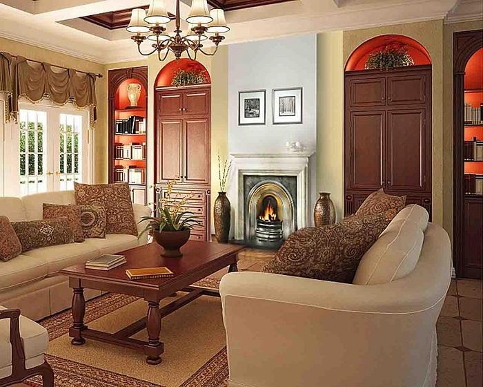 Пристойним інтер'єр може виглядати завдяки правильному підбору кольорової гами в якій оформлена така кімната.