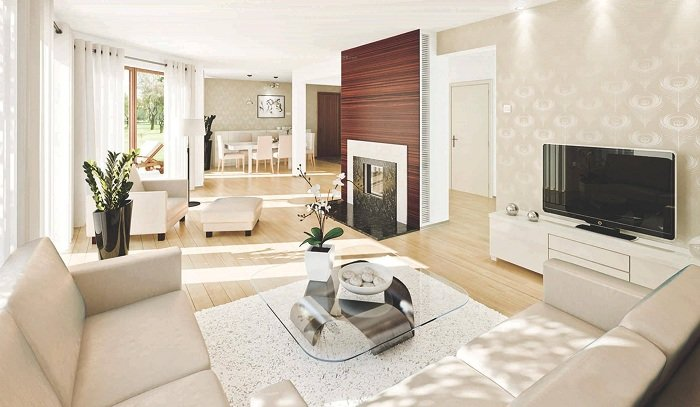 Крутой вариант декорирования гостиной, что позволит создать теплую обстановку.