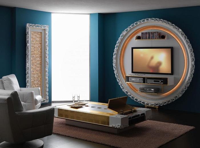Яркий интерьер комнаты создан благодаря оригинальному преображению при помощи телевизора.