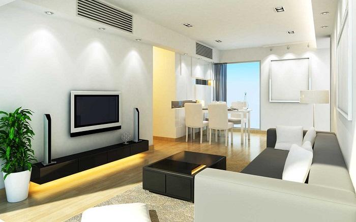 Гостиная преображена благодаря красивому интерьеру и размещению в ней телевизора.