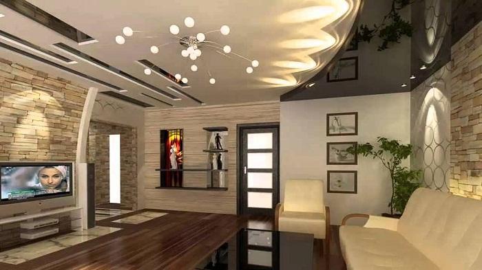 Шикарный интерьер гостиной, которая размещена на огромной площади, что выглядит потрясающе.