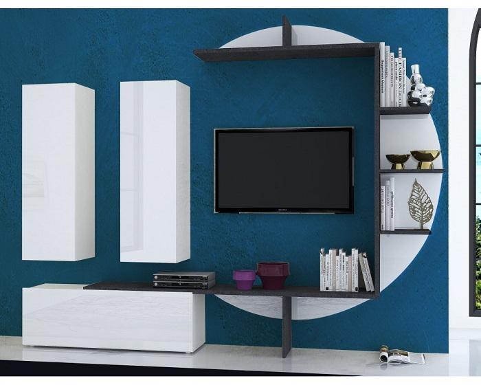 Стильный дизайн гостиной с необычным телевизором, который выглядит необыкновенно.
