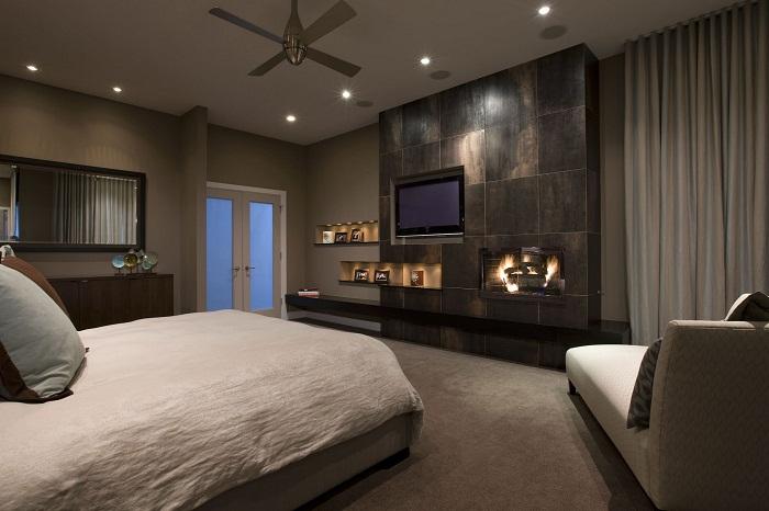 Незабываемый интерьер комнаты в отличных кофейных тонах что выглядит потрясающе.