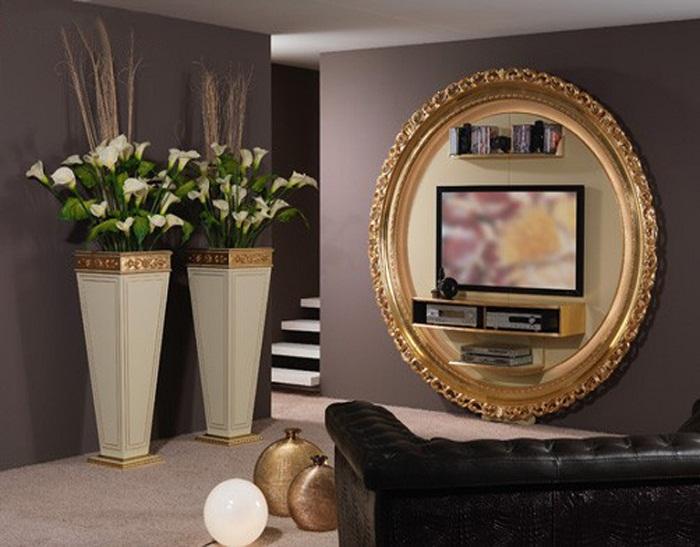 Прекрасный вариант декорирования места для телевизора, что станет оптимальным решением для оформления комнаты.
