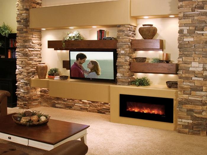 Шикарный дизайн комнаты создан благодаря интересной и теплой цветовой гамме и телевизору.